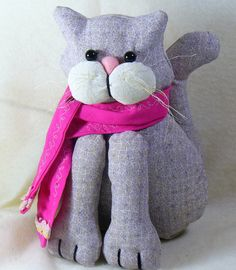 Gray Cat with Pink Scarf - pinned by pin4etsy.com
