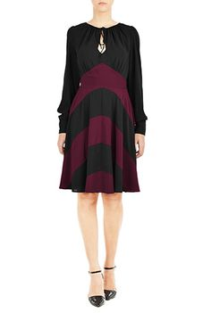 I <3 this Chevron stripe peasant style dress from eShakti