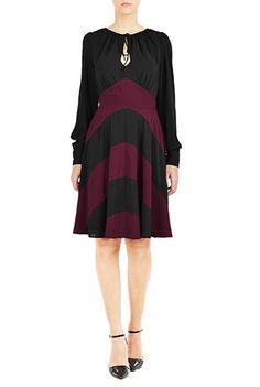 Chevron stripe peasant style dress from eShakti