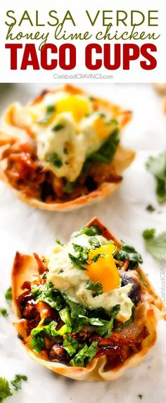 Salsa Verde Honey Lime Chicken Taco Cups - the cheesy sweet heat packed into these crispy, taco cups is so addicting and the mango guacamole is the perfect finishing touch! Whenever I serve these for an appetizer they get gobbled right up!