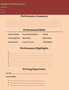 Truck DriverTrucking Resume Template For Free Download  Free