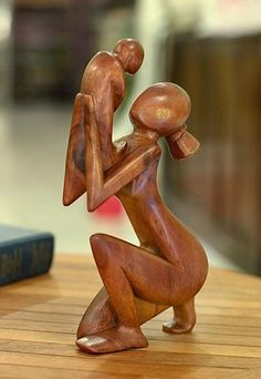 Hand Crafted Mother and Child Wood Sculpture Statue