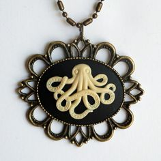 octopus fashion | Octopus Cameo Necklace | Funny Fashion Accessories