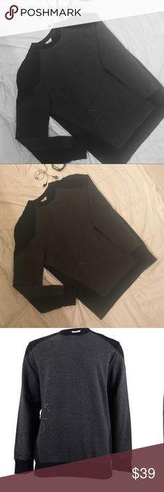 "Calvin Klein, Chic Men's graphic pullover! Size small, Men's Calvin Klein Pullover! Great condition, and could even be warm as unisex! Black & gray Design, with graphic ""Calvin Klein"" written on side in darker Print! Calvin Klein Shirts Sweatshirts & Hoodies"