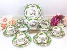 22 Piece Tuscan Naples Green Floral English Tea by LCVintageChic