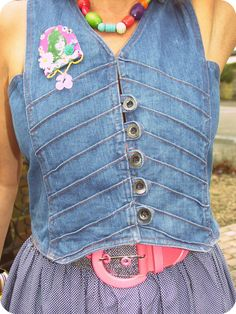 1960s styled recycled denim waistcoat