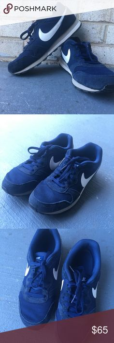 Navy blue nike md runner shoes Navy blue nike md runner shoes  Has a white check on the side  Supreme condition  No stains no damages no holes  Fits perfect to size Nike Shoes Athletic Shoes