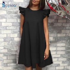 Cheap summer dress, Buy Quality dress vintage directly from China short dress Suppliers: EFINNY Women Ruffle shoulder summer dress Vintage A-Line Loose short dresses Female Vestidos Simple Summer Dresses, Vintage Summer Dresses, Summer Dresses For Women, Spring Dresses, Dress Vintage, Mode Outfits, Dress Outfits, Casual Dresses, Short Dresses
