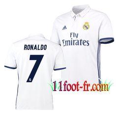Maillot de FC Real Madrid 2016/17 Homme RONALDO 7 Domicile Blanc Manche Courte   Personnaliser en Thailande