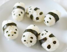 Rice pandas, the black is seaweed I saw these on a sushi board and they are too cute!