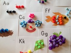pom pom printables for busy bags. How cute for color identification and for letters too.