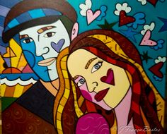 Pintura a óleo- releitura Romero Brito- namorados