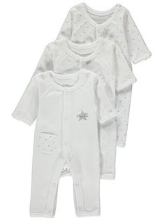 f841a75f028 Premature Baby 3 Pack Sleepsuits