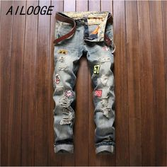 >> Click to Buy << AILOOGE 2017 Badge Patchwork Straight trousers Men Ripped Jeans Brand Scratched Biker Jeans Hole Denim Slim Fit Casual Pants #Affiliate