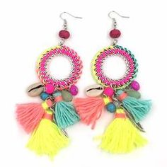 Cheap dangle earrings, Buy Quality bohemian dangle earrings directly from China dream catcher earrings Suppliers: New Ethnic Bohemian Dangle Earrings With Cotton Tassel Colorful Summer Style Dream Catcher Earrings Tribal Earrings, Tassel Earrings, Dangle Earrings, Crochet Earrings, Purple Dream Catcher, Dream Catcher Earrings, Jewelry Making, Diy Jewelry, Fabric Jewelry