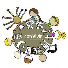 "Lámina ""convivir"" Tiempo para escuchar(nos). Compartir. (Re)conocer(nos). ConVivir. Eeeegunon mundo!!! Bizikidetza Living together"