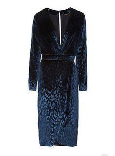 NEW Authentic Gucci Blue Leopard Print Velvet Dress SIZE 6 RRP£2120
