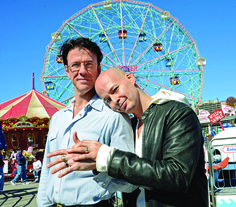 """Pat Dwyer and Stephen Mosher getting affectionate at Coney Island — the location of their eighth wedding. The couple got married eight times to make a statement about marriage equality and filmed the whole thing in the documentary """"Married … and Counting"""" #gay #LGBT #NYC"""