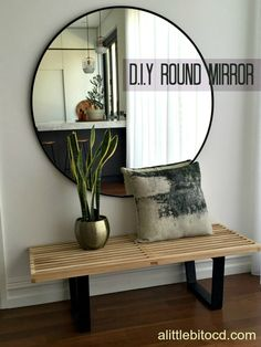 A Little Bit OCD - DIY oversized round mirror interior design http://www.alittlebitocd.com/2016/08/filling-void-diy-oversized-round-mirror.html https://www.instagram.com/marisasim/?hl=en