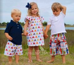 BROTHER SISTER SET girl's flutter sleeve dress with matching boys shorts in sailboat fabric - many sizes