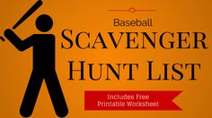 Here's a great baseball photo scavenger hunt idea, complete with a free printable list of 20 items for players to take pictures of.