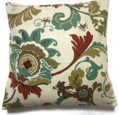 Two Teal Olive Rust Brown Natural Pillow by LynnesThisandThat, $30.00 - these would actually go with the couches we have now!