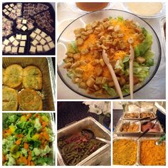 Salad, green beans, Mac and cheese, stuffed salmon, stuffed talapia, ham, baked chicken, yellow rice and for dessert cheesecake