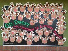 Oh Deer, Christmas is almost here bulletin board! {and LOTS of other great Christmas ideas for lower December Bulletin Boards, Kindergarten Bulletin Boards, Christmas Bulletin Boards, Winter Bulletin Boards, Kindergarten Activities, Christmas Bullentin Board Ideas, Christmas Board Decoration, Reindeer Bulletin Boards, Bullentin Boards