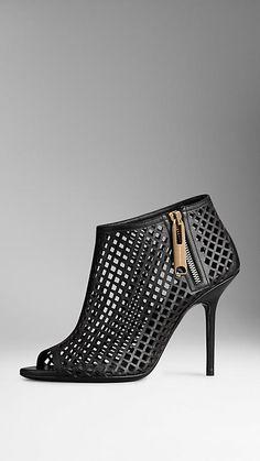 Burberry ~ Leather Lattice Peep-Toe Ankle Boots