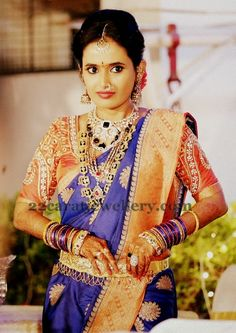 Indian Jewellery Designs: Telugu Bride in Polki Heavy Jewellery