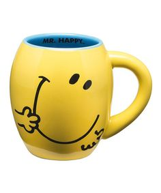 Another great find on Yellow Mr. Happy Mug by Vandor Coffee Talk, Coffee Cups, Tea Cups, Smileys, Smiley T Shirt, Smiley Emoji, Teapot Cookies, Yellow Cups, Collage Making