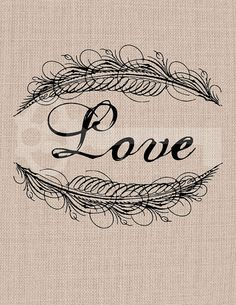 Love calligraphy Frame feather Graphic Image by TanglesGraphics, $1.00
