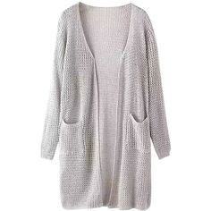 grey open frint knit cardigan ($26) ❤ liked on Polyvore featuring tops, cardigans, jackets, sweaters, outerwear, grey knit cardigan, gray cardigan, grey top, gray top and grey knit top