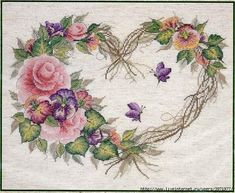 Bucilla Counted Cross Stitch Kit, 14 by 43092 Grapevine Wreath Cross Stitch Pictures, Cross Stitch Needles, Cross Stitch Heart, Counted Cross Stitch Kits, Cross Stitch Flowers, Embroidery Flowers Pattern, Embroidery Patterns Free, Flower Patterns, Cross Stitch Designs