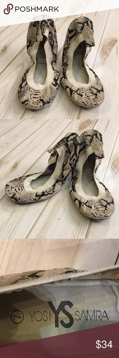 Women's 7 Yosi Samra dress embossed ballet flats Snake embossed texture adds a tinge of glam! Leather upper. Round toe. Elastic collar. Slip on style! Cute and easily trendy! Yosi Samra Shoes