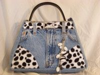 Elizabeth Country Corner - Denim Purse with Cowprint Belt