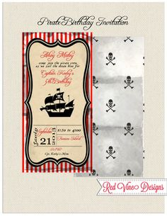 Pirate Party Invitation by DesignsRedVine on Etsy