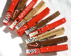 10 CHRISTMAS CLOTHESPIN painted and glitter by SugarAndPaint