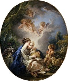 François Boucher - Virgin and Child with the Young Saint John the Baptist and Angels. part 2 Metropolitan Museum. Download painting.