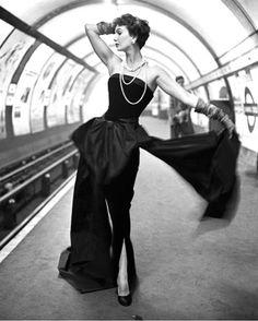 Barbara Goalen by John French in a metro Station