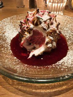 Baked Alaska with raspberry sorbet. Baked Alaska, Raspberry Sorbet, Dessert Recipes, Desserts, Icecream, Manchester, Panna Cotta, Baking, Ethnic Recipes