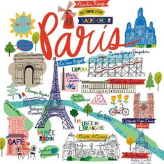 Map of Paris. Part of our city/world collection. Paris Poster, Paris Map, Paris Theme, Paris Travel, France Travel, Gravure Illustration, Travel Illustration, Paris Illustration, Travel Maps