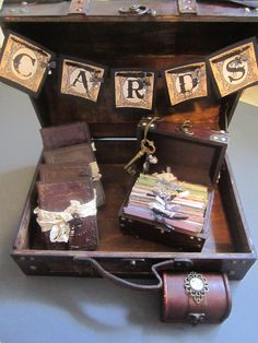 Steampunk Wedding Card Box Wedding Banner Set with Wish Box Guest Book Alternative Bridesmaid Gifts Ring Box. $199.00, via Etsy.