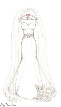 Dreamlines Wedding Dress Sketch.  Valentine's Day gift idea. Perfect for an anniversary gift. One Year - Paper (the sketch) Two Year - Cotton (cotton mat and frame) Three Year - Leather (leather frame) Four Year - Flower (flower bouquet sketch) Five Year - Wood (wood frame To just name a few.... http://www.mydreamlines.com/