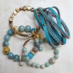 Blue Cross Medley Bracelet Stack