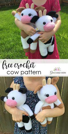 Amigurumi Cow - A Free Crochet Pattern Crochet Cow, Crochet Amigurumi Free Patterns, Crochet Animal Patterns, Stuffed Animal Patterns, Cute Crochet, Crochet Animals, Crochet Dolls, Baby Patterns, Octopus Crochet Pattern Free