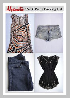 TFG's 15-16 Piece Maximista Packing List offers you a versatile packing option you can customize to meet your needs on vacations, RTW trips, and other long term adventures. Combine these ideas with the Minimalist, Travel Essentials, and Classic Packing List for flawless packing every time! http://travelfashiongirl.com/maximista-packing-list-spring-2013/ #travel #packing #list #fashion