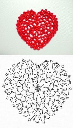 We love hearts, and better if they are made from crochet! To those who are crochet heart lovers, we made a compilations of hearts and their diagrams, from the net. Filet Crochet, Crochet Diagram, Crochet Chart, Thread Crochet, Crochet Stitches, Crochet Motif Patterns, Crochet Squares, Crochet Designs, Lace Doilies