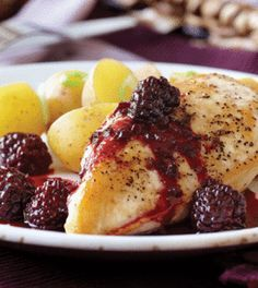 Blackberry Pomegranate Chicken with Steamed Potatoes