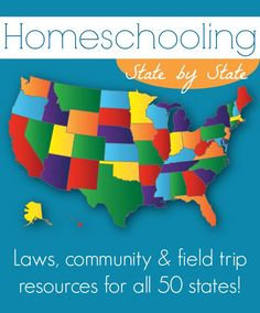 HUGE list of Homeschooling State-by-State information including Laws, Community, and Field Trip resources from @trueaim (+ a $1,400 HOMESCHOOL giveaway!!) -->